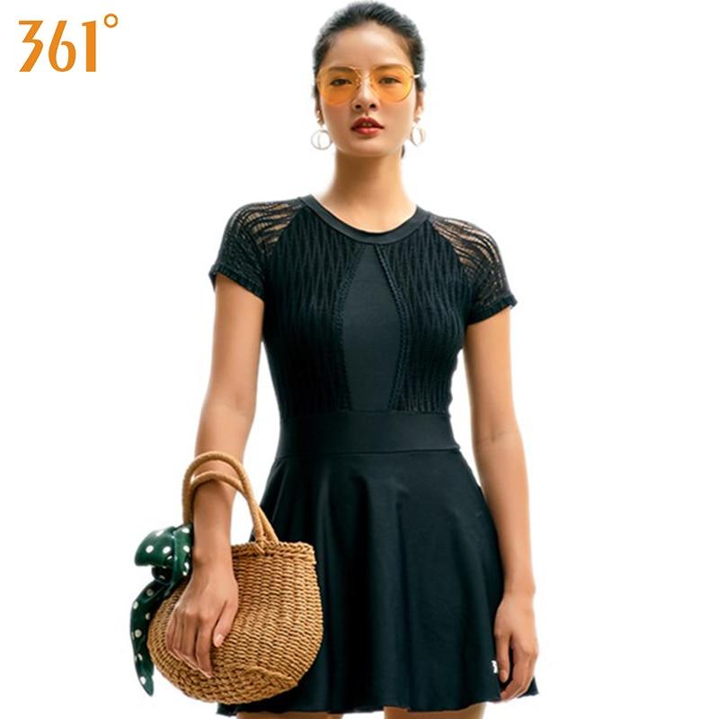 361 Skirt Swimsuit One Piece Women Monokini 2019 Plus Size Conservative Black Swimwear with Skirt Ladies Swimming Dress Bather