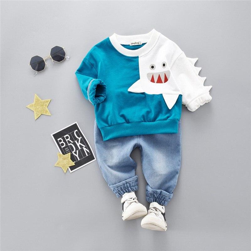 Boys clothes Child Kids Winter Boys Cartoon Shark Long Sleeve Tops Denim Pants Outfits Set #4j22 (10)
