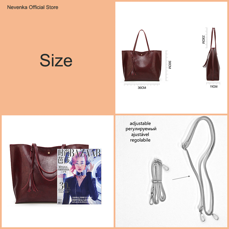 Nevenka Leather Handbag Women Casual Totes Female Shopper Ladies Shopping Bags Large Capacity Bags Vintage Bag for Women 201801