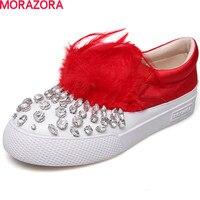 MORAZORA Hot Sale Leisure Round Toe Genuine Leather Women Flats Shoes Rhinstone Fashion Spring Shoes Big