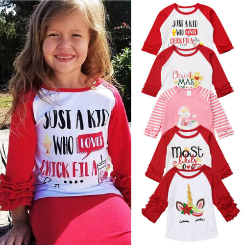 FOCUSNORM Toddler Baby Girl Christmas T Shirt Print Unicorn Ruffle Long Sleeve Tops T-shirt Clothes Gift