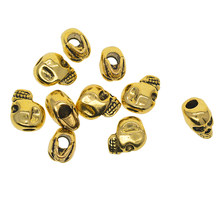 10pcs Alloy Antique Gold Gothic Punk Large Hole 3D Skull Spacer Loose Beads Jewelry Making Accessories(China)