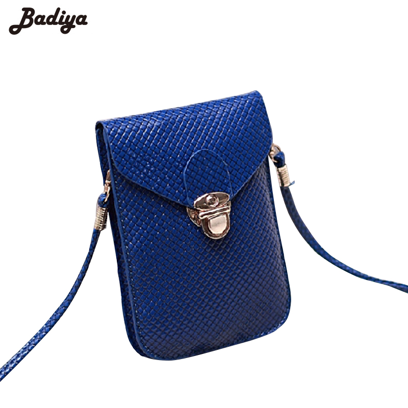 2017 Fluorescence Colors Women Mobile Phone Bags Fashion Small Change Purse Female Woven Buckle Shoulder Bags Mini Messenger Bag
