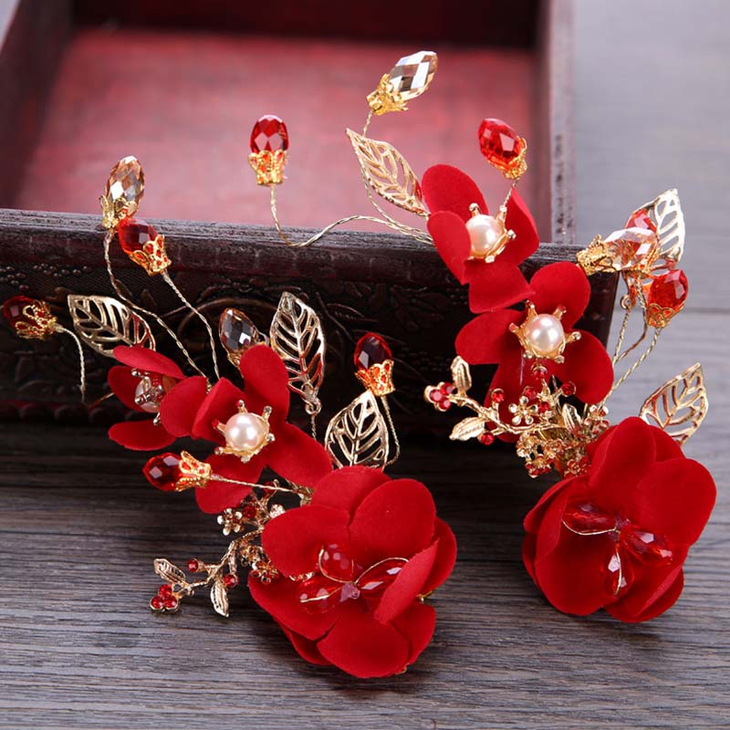 Hot Sale 1pc Women Girl Hair Pin Hair Accessories Red Flower Leaf Crystal Bridal Hair Clip Hairpin Tiara Headpiece Head Jewelry