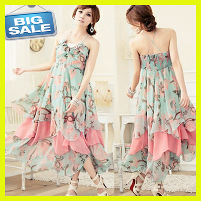 9f37488c995 Women Bohemian Maxi Dress Chiffon Flower Print Halter Neck Backless Ruffles  Hem Casual Sophisticated evening A-Line Long Dresses