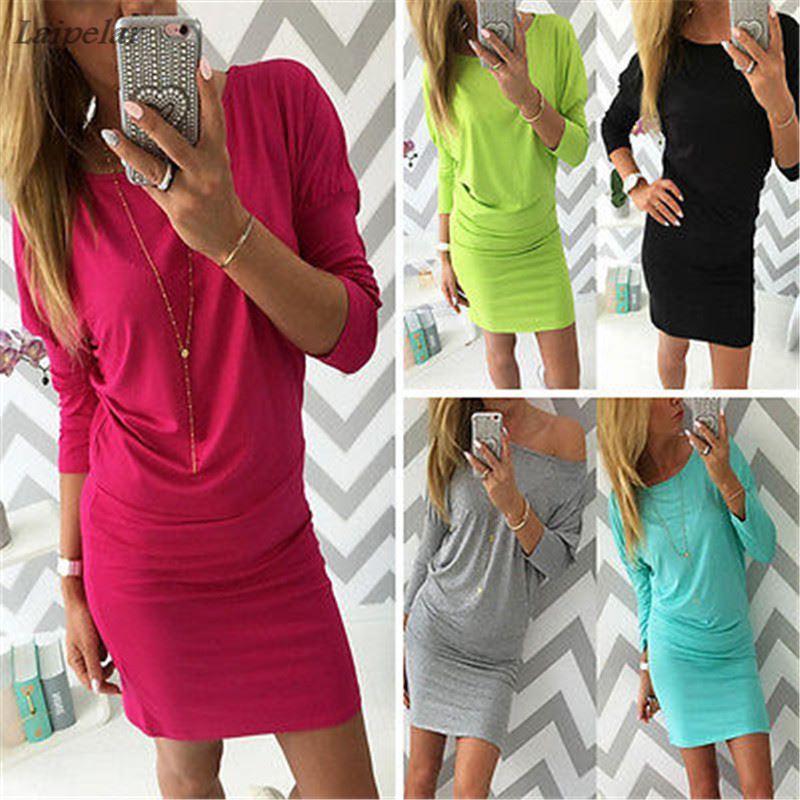 2018 Sexy Autumn Winter Long Sleeve Tight Slim Cotton Womens Bodycon Mini Wrap Dress Casual Short Basic inside wear