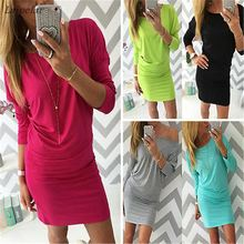 2018 Sexy Autumn Winter Long Sleeve Tight Slim Cotton Womens Bodycon Mini Wrap Dress Casual Short Basic inside wear