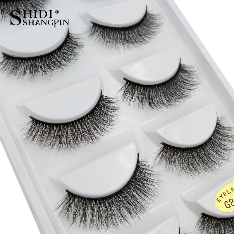new 5 pairs false eyelashes natural fake eyelashes 3D mink lashes soft corss long eyelash extension handmade makeup black #G805