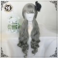 Lolita Dark Gray Cosplay Wig For Women Heat Resistant Synthetic Wavy with bangs Hair