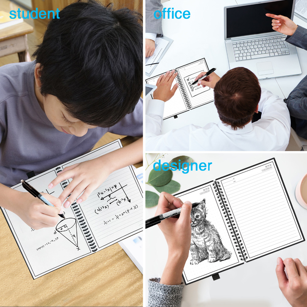 NEWYES Dropshipping Smart Reusable Erasable Notebook Paper Microwave Wave Cloud Erase Notepad Note Pad Lined With Pen 3