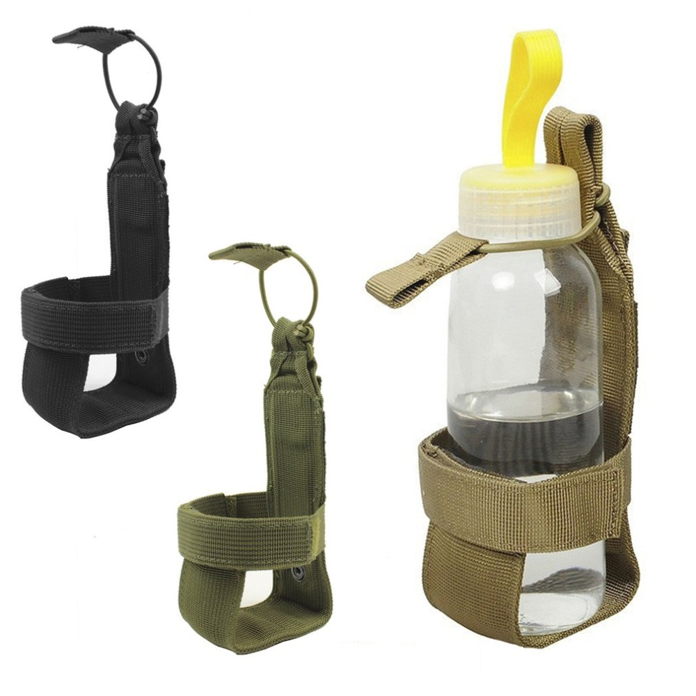 Tactical Water Bottle Holder With Nylon Adjustable Magic Tape Drink Holder Belt Bottle Carrier Hiking Pouch