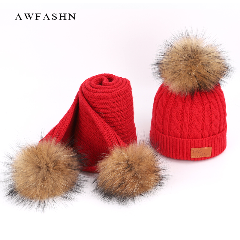 2018 New Cute Children's Knit Beanie Hat Scarf 2 Pieces Set Winter Boy Girl Pompom Soft Cap Scarves Beanies Thicken Baby Kids