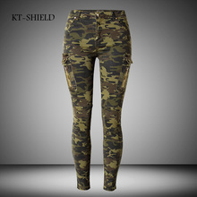 New fashion 34-44 Camo Print Skinny Women Jeans Femme Camouflage Cropped Pencil Legging Pants Trousers Military Capris Army Pant