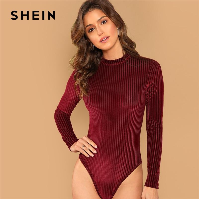 SHEIN Burgundy Modern Lady Mock-Neck Cord Stand Collar Mid Waist Long Sleeve Bodysuit 2018 Autumn Women Elegant Bodysuits