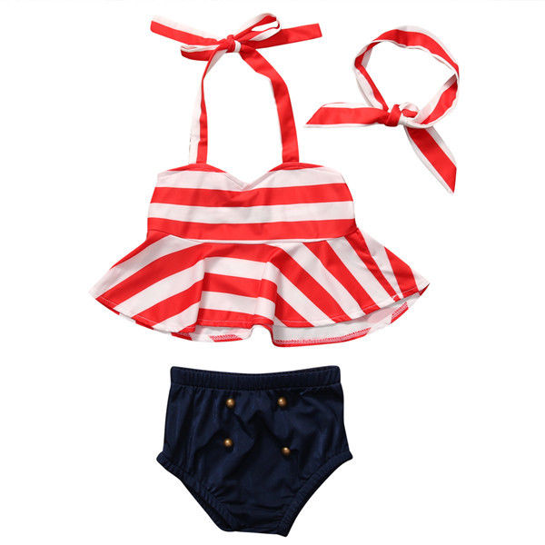 Kids Girl Baby Clothes Set Bikini Swimwear Striped Tops Halter Tankini Swimsuit Bathing Beachwear Headband Toddler 0-4Y 3PCs