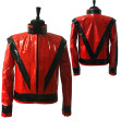 Rare MJ Michael Jackson Red PU Leather This is it Thriller Jacket PUNK Skinny Outwear Motorcycle Style