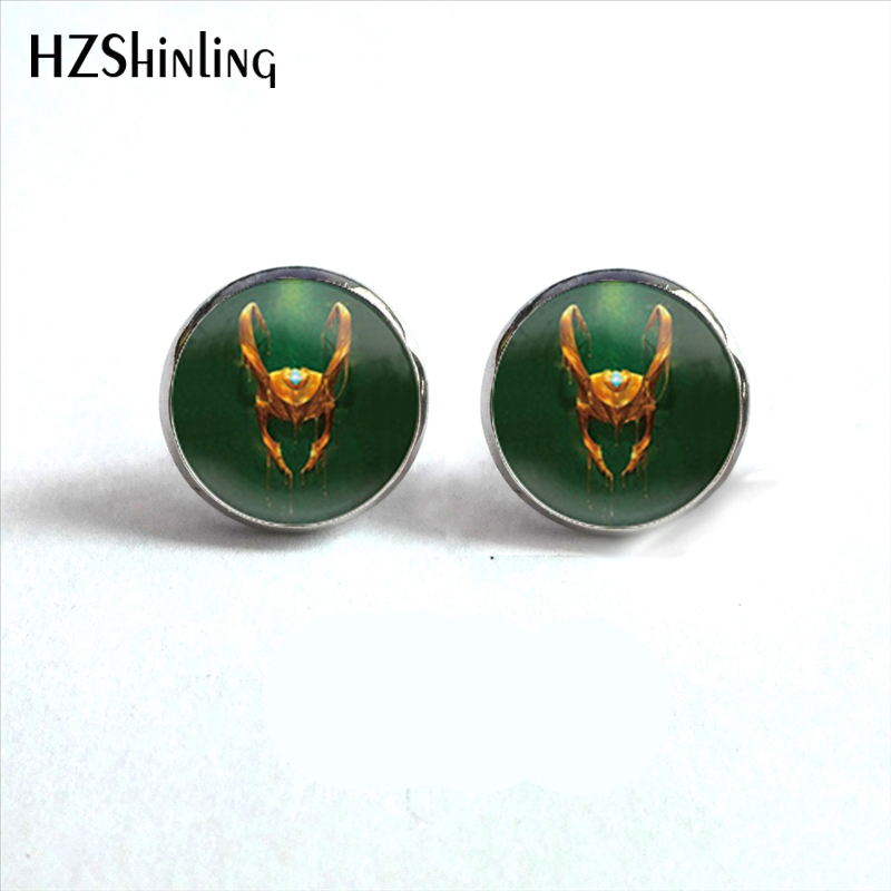 NES-0060 Loki God of Mischief Earrings Snake Eye Loki Written Jewelry Ear Nail Glass Dome Earrings For Men HZ4