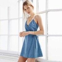 2016 New Arrival Casual Vintage Spaghetti Strap V Neck Female Loose Beach Dresses Sleeveless Summer Short Denim Dress For Women