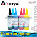 Art paper ink for Epson Stylus Photo R210 R230 R310 R350 100ml bulk ink High quality coated paper ink 6 colors for Epson T0491