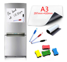 A3 Size Flexible Magnetic Whiteboard Fridge Soft Magnets Dry Wipe White Board Writing Record Marker Pen Eraser