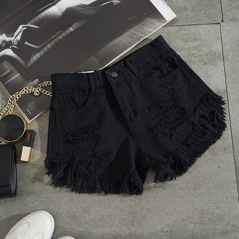 Sexy High Waist Hole Ripped Denim   Shorts   Summer Women Black Streetwear Tassel Mini Denim   Shorts