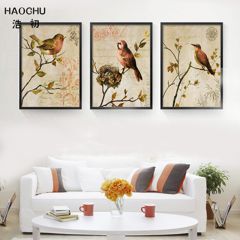 HAOCHU Rustic Nature Flowers Birds On Tree Canvas Painting Art Print Poster Picture Wall Paintings Modern Bedroom Home Decor