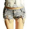 2016 Estilo Verão Shorts Jeans Mulheres Fasgion Sexy Shorts Casuais Bandagem Holes Denim Shorts Jeans Mini Shorts Roupas Femininas