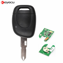 Keyecu 1 Button 433MHz With Chip PCF7946 Remote Key Fob for Renault Clio Kangoo Twingo Scenic with Uncut Blank Blade
