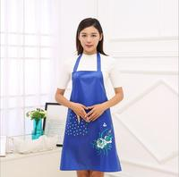 New Arrival Pure Color Fashion Sleeveless Apron Flower Pattern Halterneck With Pocket Apron Home Kitchen Cleaning