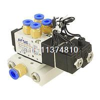 DC 24V 2 Position 5 Way Single Head 2 Pneumatic Solenoid Valve w Base