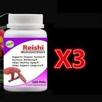 3 Bottle 300pcs Reishi Mushroom Extract Ganoderma Lucidum Lingzhi Support Immune System Longevity Anti Cancer Anti