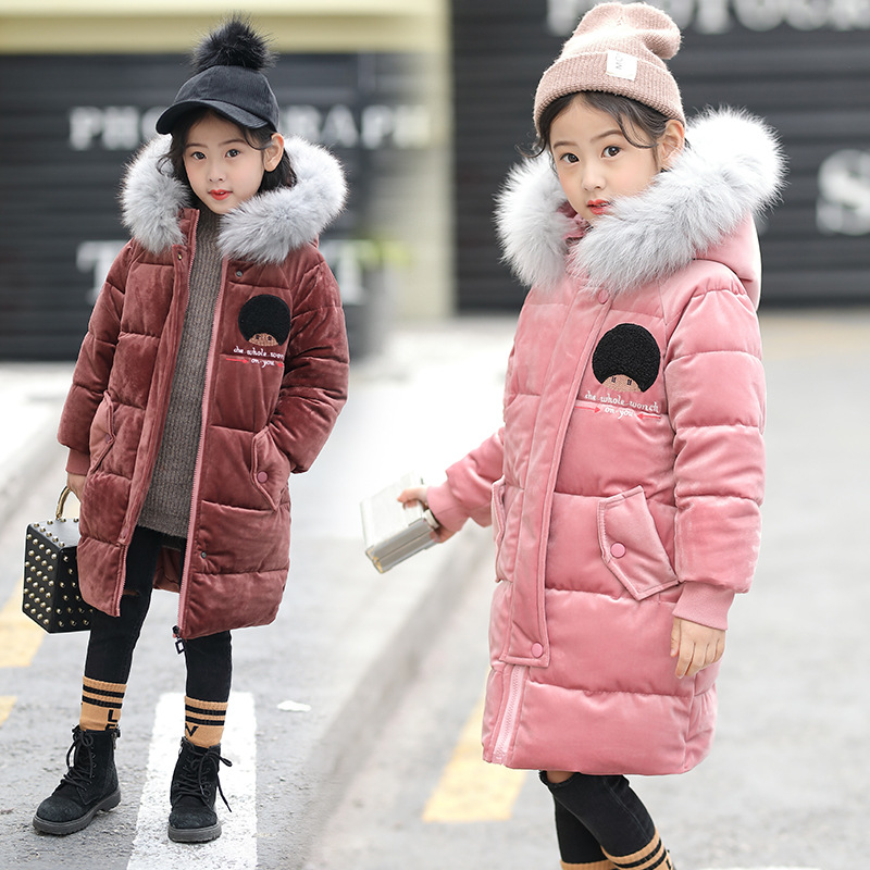 Winter Children Girls Coats Kids Cotton Padded Raccoon Fur Collar Hooded Warm Overcoats Outfits Girls Gold Velvet Fabric JacketsWinter Children Girls Coats Kids Cotton Padded Raccoon Fur Collar Hooded Warm Overcoats Outfits Girls Gold Velvet Fabric Jackets