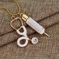Wholesale Medical Stethoscope Syringe Pendant Necklace Snake Chain Needle Metal Alloy Pendant For Women Nurses Jewelry Gifts