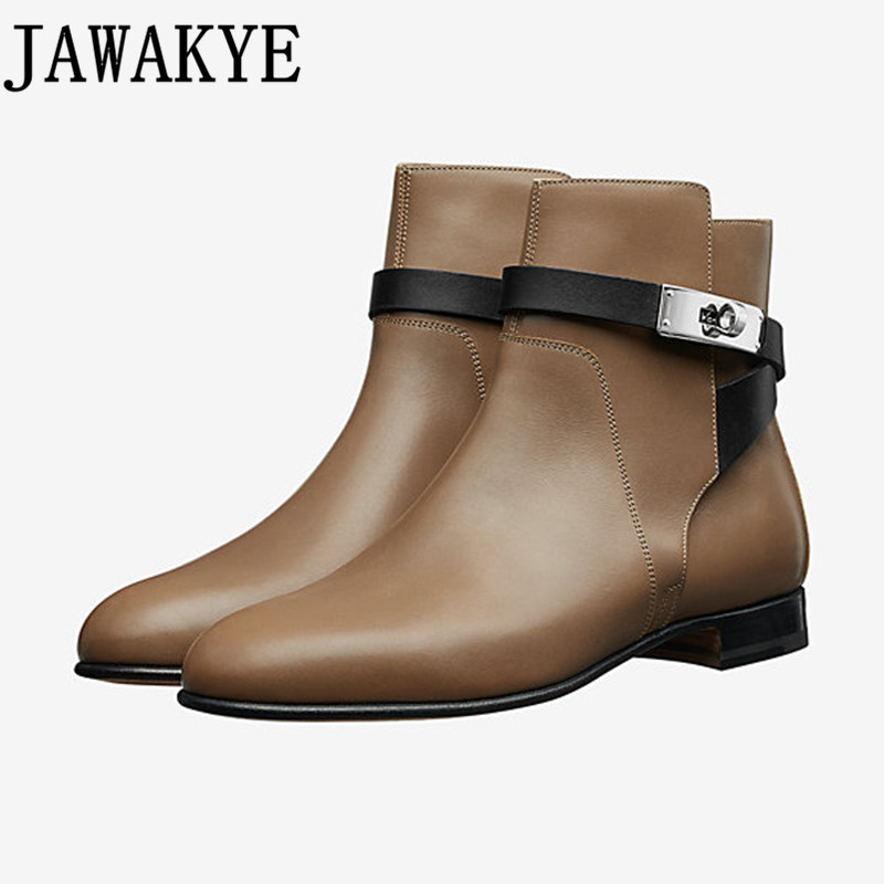 Punk style Ankle Boots for women genuine leather round toe shark lock buckled strap Riding martin Botas flat heel Zapatos Mujer все цены