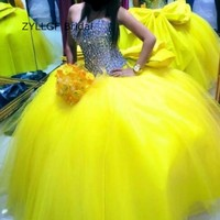 ZYLLGF Bridal Ball Gown Long Yellow Prom Dress Bling Bling Puffy Sweetheart Dresses Evening Dresses With
