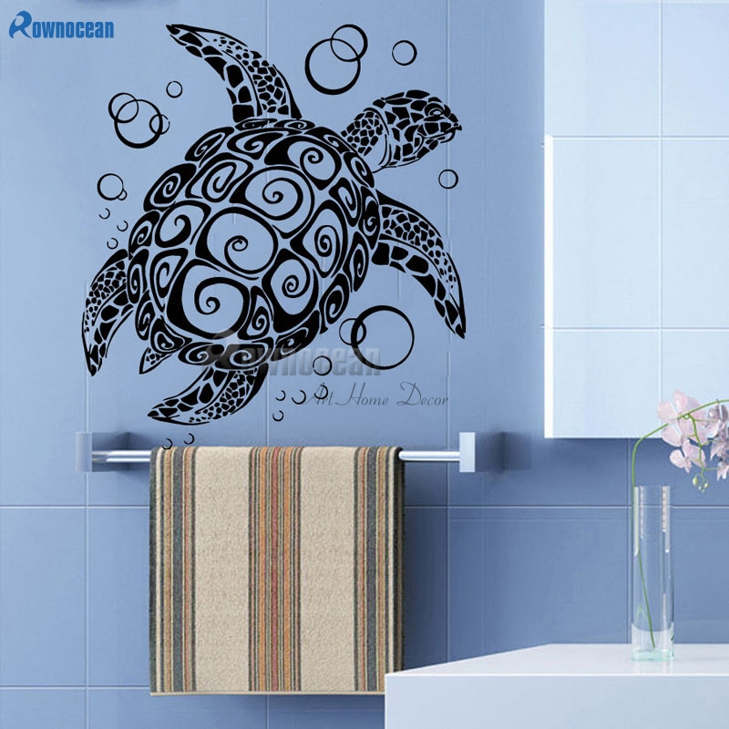 sea turtle with bubble wall decal stickers ocean sea animal art home decor vinyl ebay. Black Bedroom Furniture Sets. Home Design Ideas