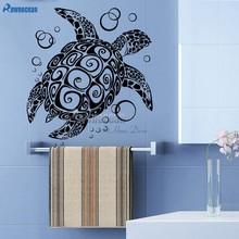 Mar tartaruga com bolha adesivos de parede oceano mar animal decoração da sua casa vinil diy interior adesivo decalque da parede do banheiro arte mural y08