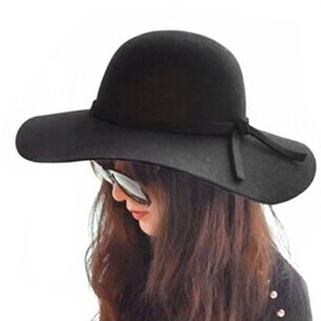 Wide Brim sun hats womens Summer autumn felt fedora bucket for women with big  head female waves large brim sunbonnet fedoras C2 683d3d6966