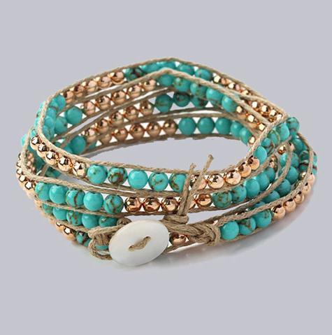 Charming Tur-Quoise And Golden Color Metal Beads Multi Wrap Bracelet 4mm Handmade Bracelet Beadweaving Wrap Bangle