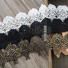 Free shipping 8cm wide 1Yard/lot Victorian Antique Gold Embroidery Lace Trim in Metallic for Bridal,Wedding Gown.