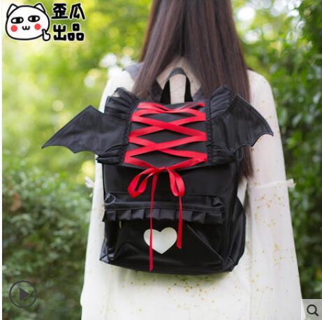 Anime backpack Angel Devil Schoolbag JK Uniform bag Second element Japan Cute Student Schoolbag