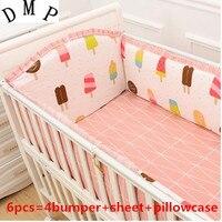 Promotion! 6pcs baby cot crib bedding set cartoon animal baby crib set Quilt Bumper Sheet Skirt,(bumpers+sheet+pillow cover)