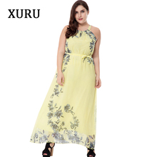 XURU Plus Size Boho Chiffon Printed Dress Sleeveless O-Neck Belted Long Maxi Dresses Women Casual Vacation Beach Dress S-6XL boat neck belted maxi dress