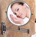 Morden baño espejo de maquillaje plegable espejo de baño montado en la pared espejo plegable espejo cosmético doble cara 3x