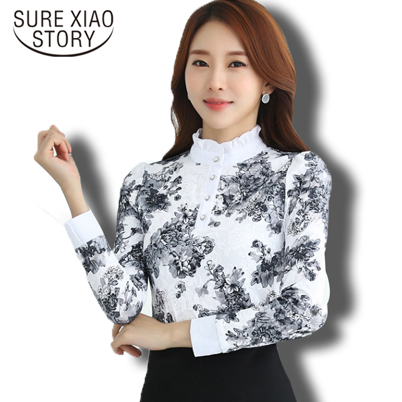 Hot Sale 2016 New Arrival Autumn Winter Korean Fashion Chiffon Shirt Long Sleeved Lace Blouses Slim