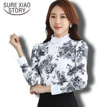 Хит продаж 2016 г. Новое поступление осень и зима корейской моды шифоновая рубашка Длинные рукава Кружево Блузки для малышек тонкий Для женщин рубашка 883A 25