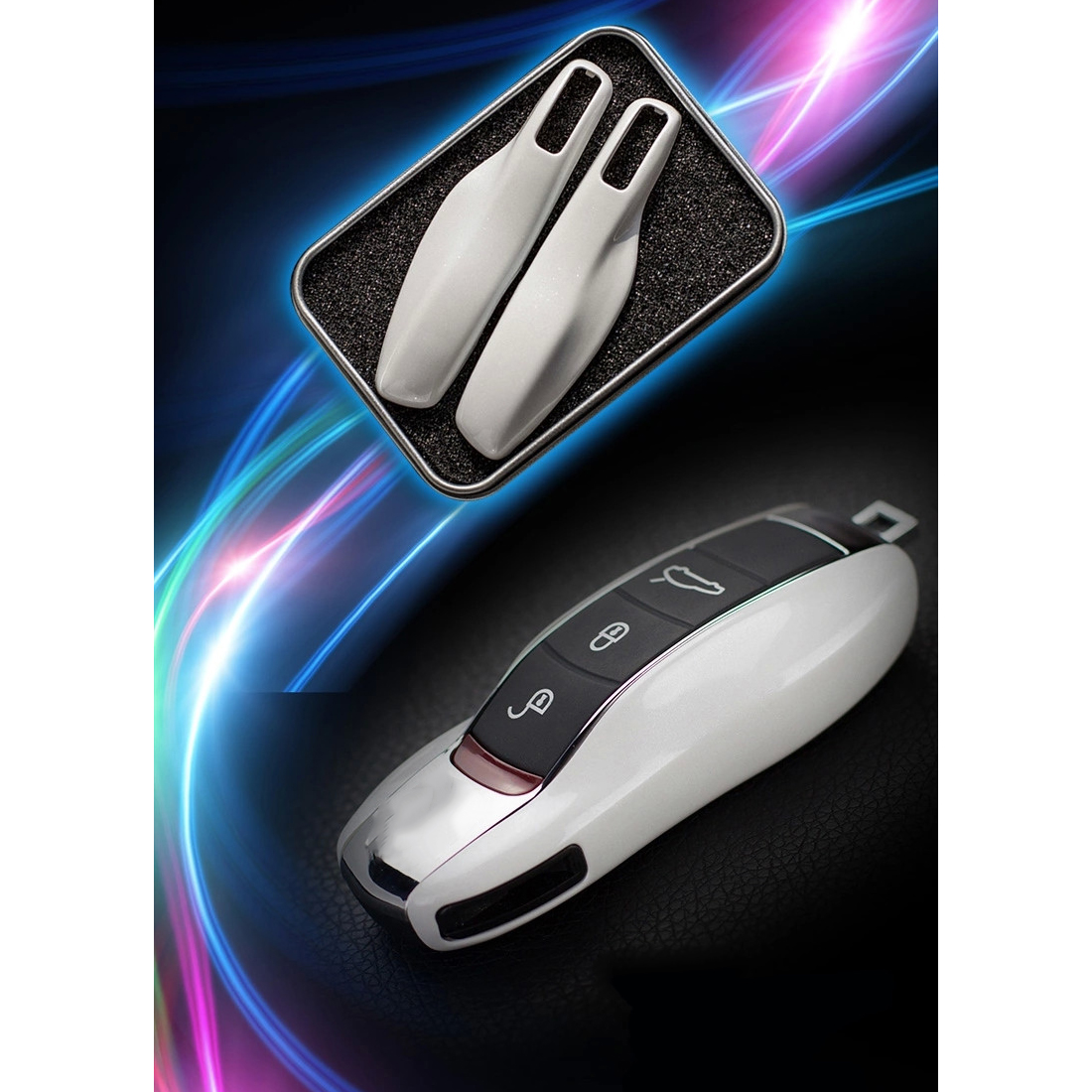 hight resolution of dewtreetali car styling car key case protective shell abs plastic bag box for porsche cayenne macan