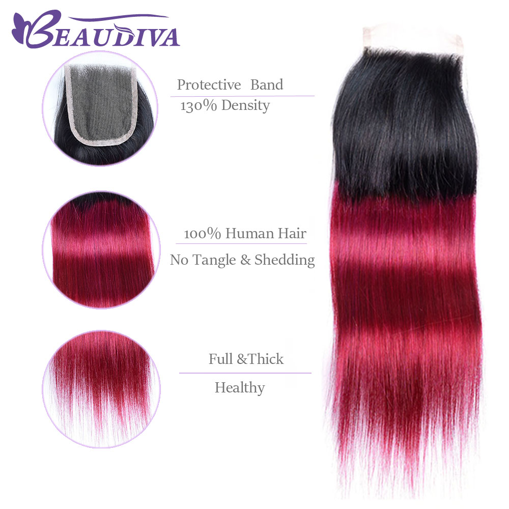 Beaudiva Pre-Colored Ombre T1B/Burg Brazilian Straight with Closure 4x4 Human Hair with Lace Closure 100% Human Hair Bundle
