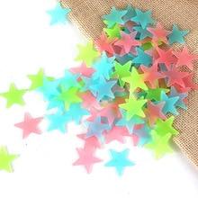 50pcs/3.8cm 3D Luminous Star Wall Sticker Kids Bedroom Fluorescent Glow In The Dark Stars Wall Stickers Ceiling Home Decor