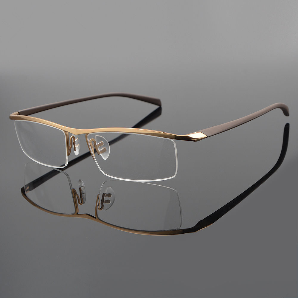 Titanium Half Rimless Eyeglass Frame Men Spectacles Glasses Eyewear Rx able